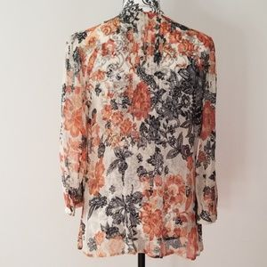 Lucky Brand Tops - Lucky Brand Shear Nylon Floral Print Blouse